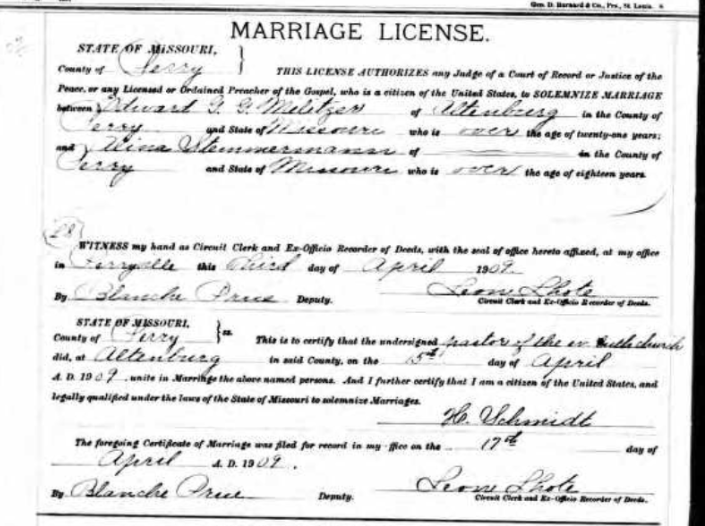Militzer Stemmerman marriage license