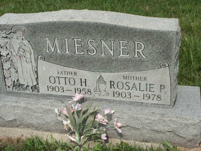 Otto and Rosalie Miesner gravestone Christ Jacob IL