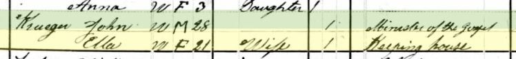 Rev. John Krueger 1880 census Ottertail MN