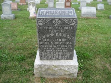 Rev. John Krueger gravestone Salem Farrar MO