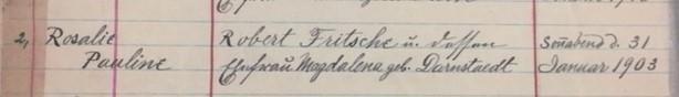 Rosalie Fritsche baptism record Christ Jacob IL