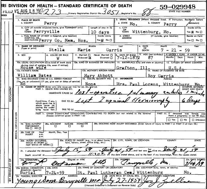 Stella Garris death certificate
