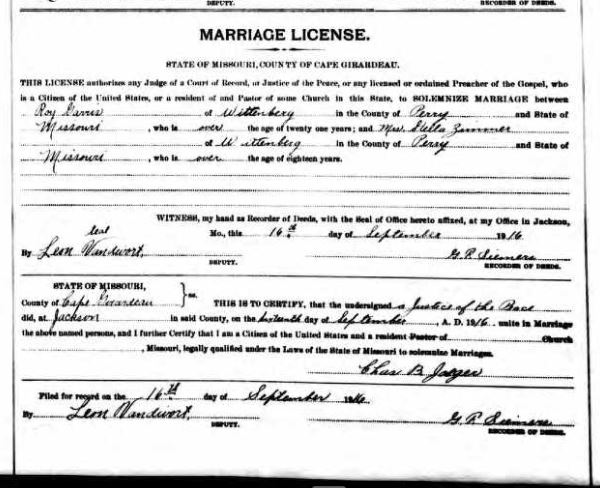 Zimmerer Garris marriage license