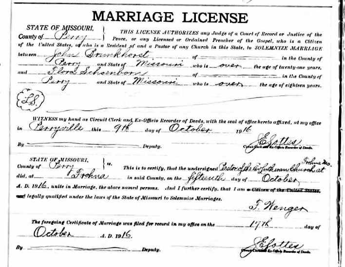Brunkhorst Schoenborn marriage license