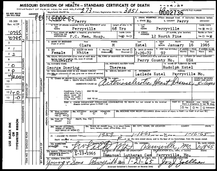 Clara Estel death certificate