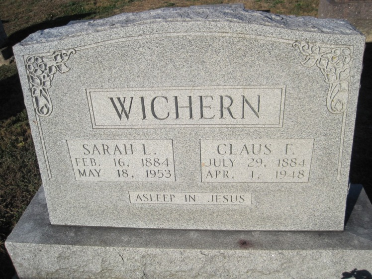 Claus and Sarah Wichern gravestone Immanuel Altenburg MO