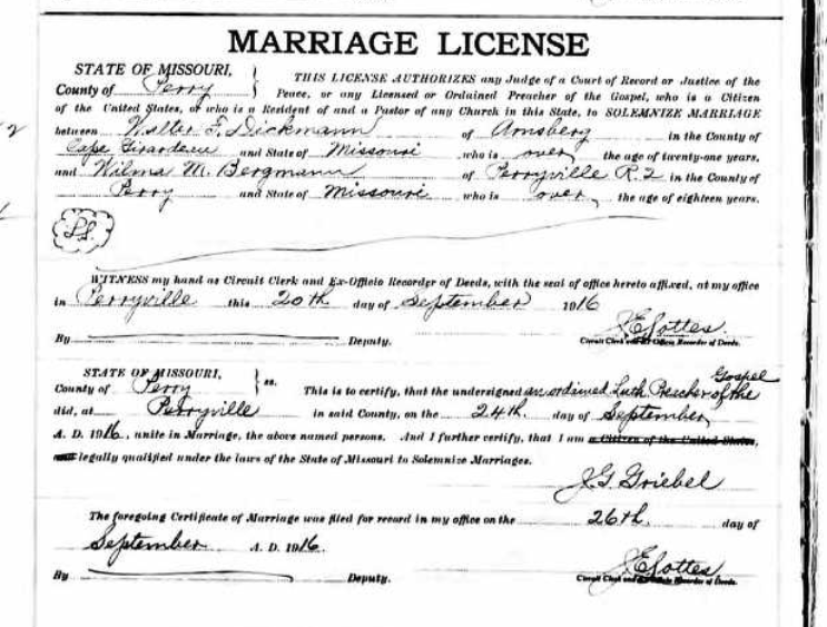 Dickmann Bermann marriage license