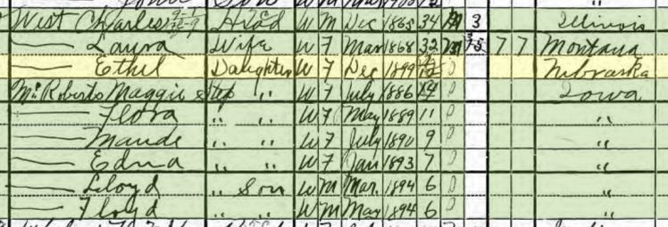 Ethel West 1900 census Wisner NE