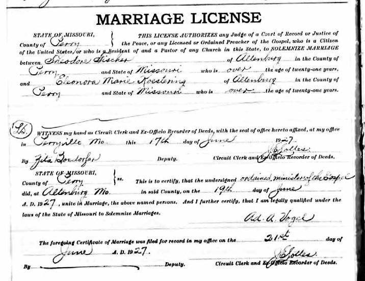 Fischer Koestering marriage license 1927
