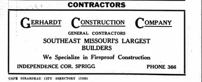 Gerhardt Construction 1930 city directory Cape Girardeau MO