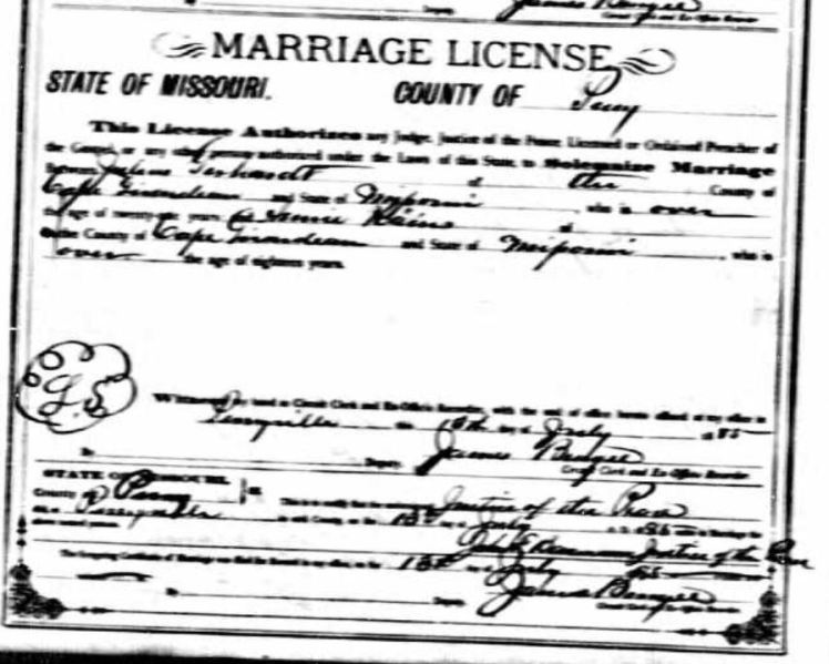 Gerhardt Heintz marriage license