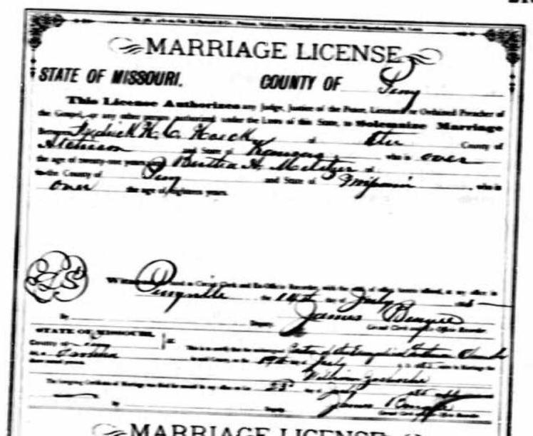 Hoech Militzer marriage license