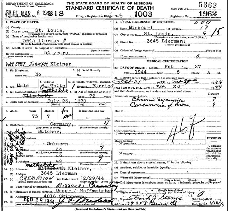 Joseph Kleiner death certificate St. Louis MO