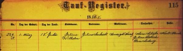 Julius Wilhelm Gerhardt baptism record Grace Uniontown MO