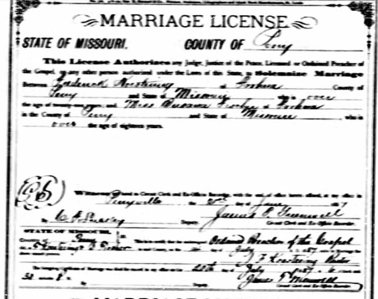 Koestering Fischer marriage license 1887