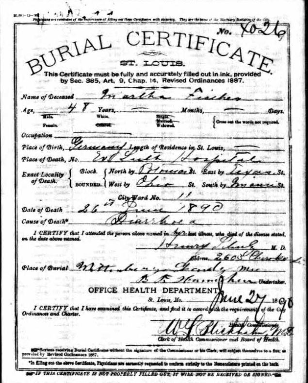 Martha Fischer death record St. Louis MO
