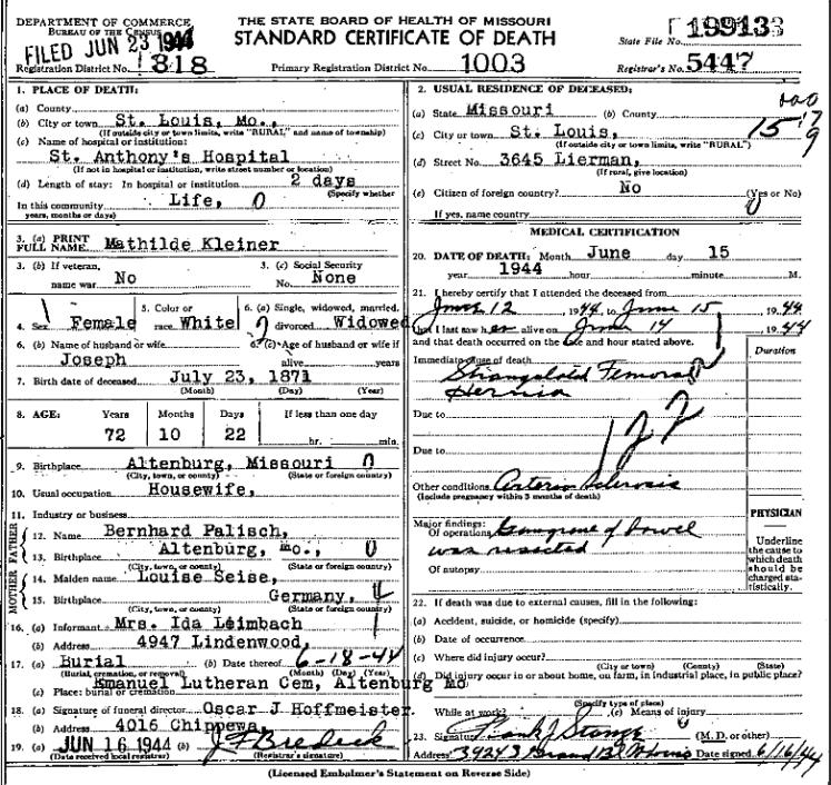 Mathilde Kleiner death certificate St. Louis MO