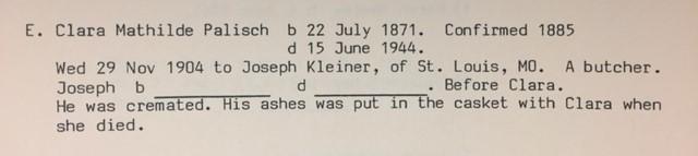 Mathilde Palisch Kleiner family history record