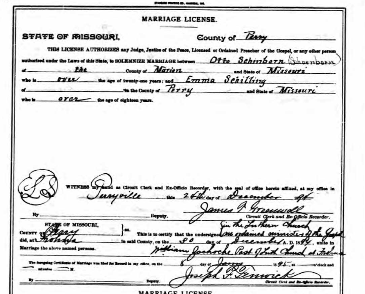 Schoenborn Schilling marriage license