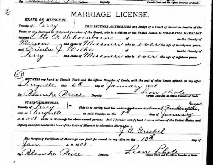 Schoenborn Wilke marriage license