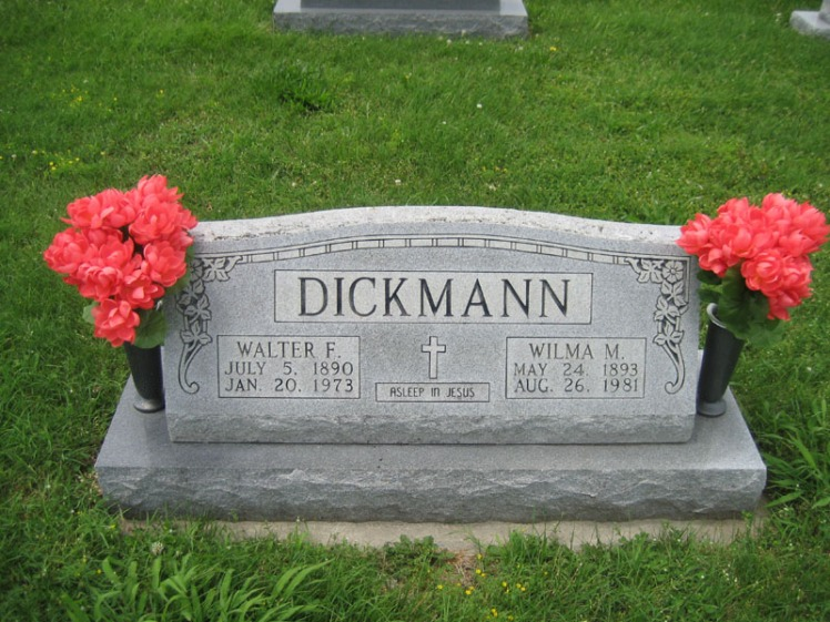 Walter and Wilma Dickmann gravestonw Immanuel Perryville MO