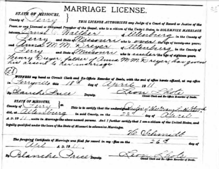 Walther Dreyer marriage license