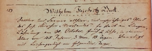 Wilhelm Friedrich Buck death record Trinity Altenburg MO