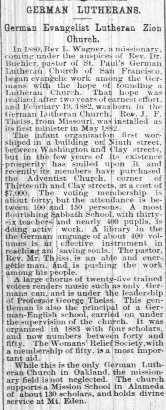 Zion Lutheran Oakland newspaper article