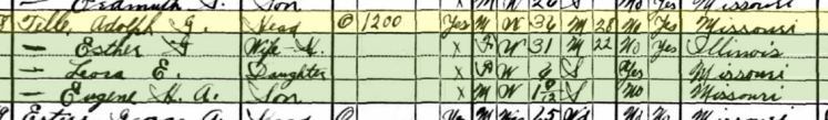 Adolph Telle 1930 census Uniontown MO