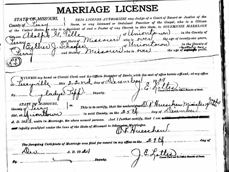 Adolph Telle Esther Schaefer marriage license