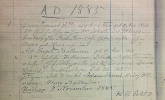 Arbeiter Bellmann marriage record Christ Jacob IL
