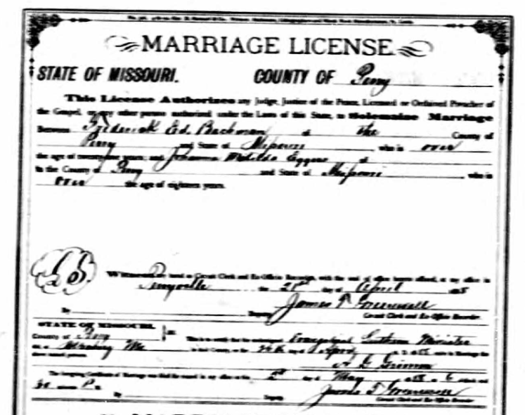 Bachmann Eggers marriage license