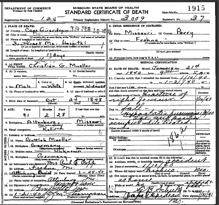 Christian Mueller death certificate