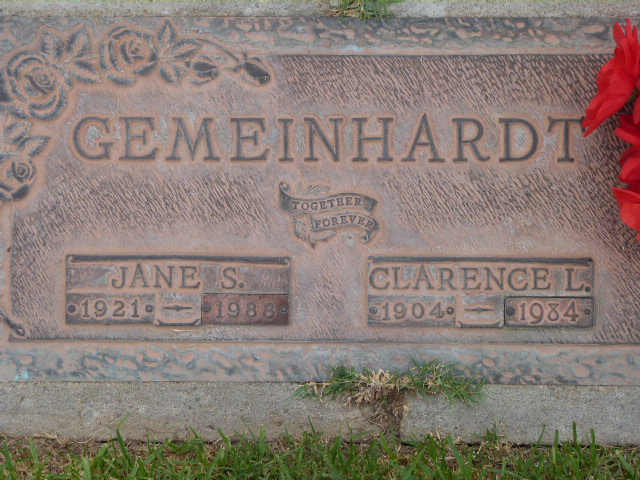 Clarence and Jane Gemeinhardt gravestone Forest Lawn Long Beach CA