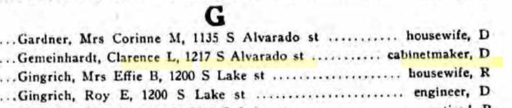 Clarence Gemeinhardt 1938 CA voter registrations