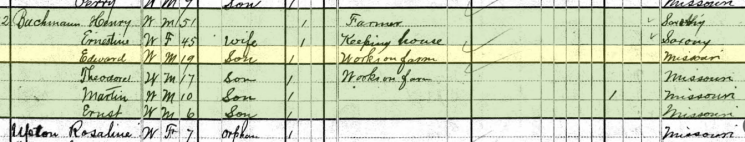 Edward Bachmann 1880 census Farrar MO