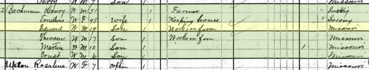 Edward Bachmann 1880 census Farrar MO