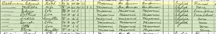 Edward Bachmann 1910 census Farrar MO