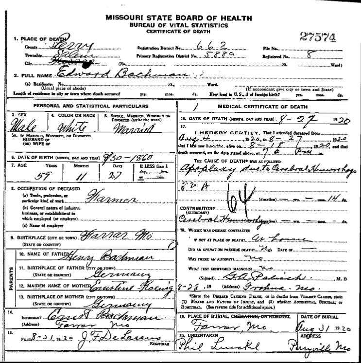 Edward Bachmann death certificate