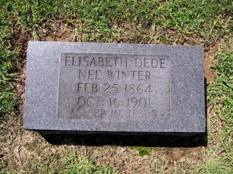 Elizabeth Winter Dede gravestone Trinity Egypt Mills MO