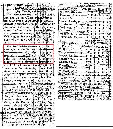 Farrar vs. East Perry August 9, 1925