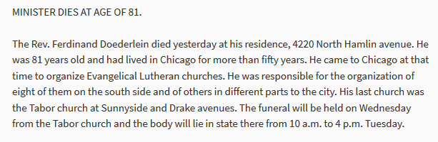 Ferdinand Doederlein obituary