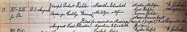 Fiehler Militzer marriage record Concordia Frohna MO