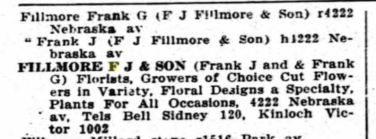 Fillmore Florists 1920 city directory St. Louis MO