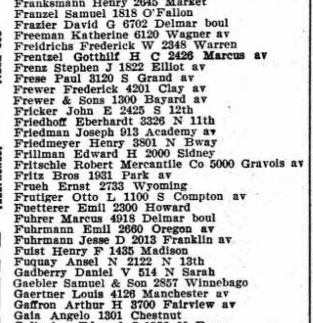 Frentzel Gaebler 1913 city directory grocers St. Louis MO