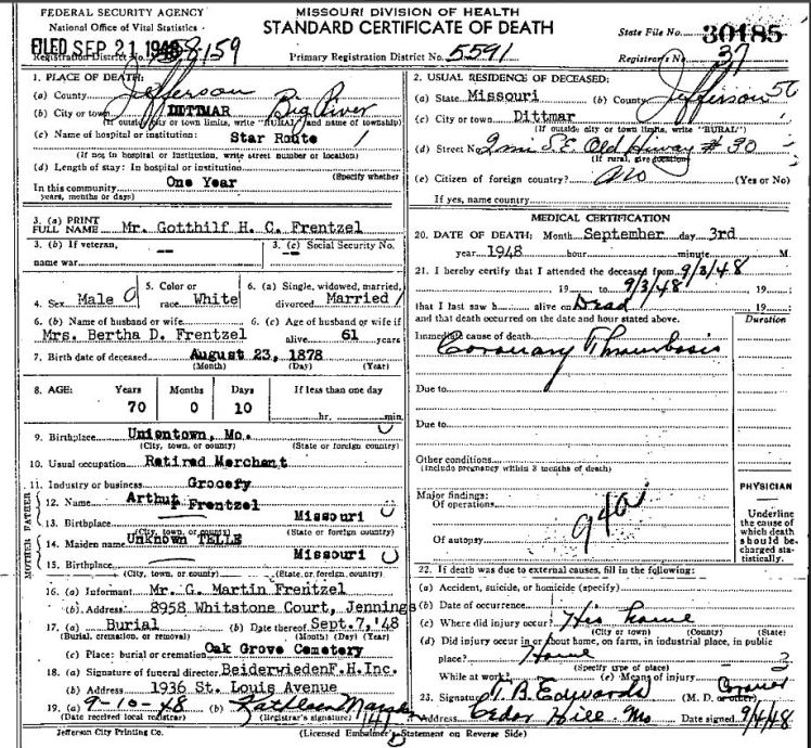 Gotthilf Frentzel death certificate