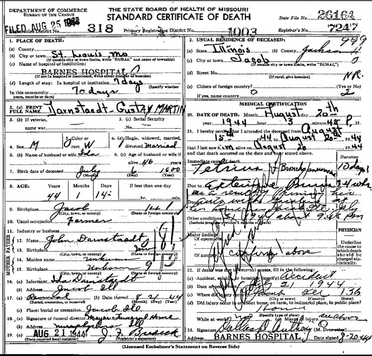 Gustav Darnstaedt death certificate