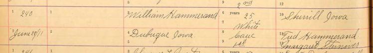 Hammerand Boehme marriage record 1 Dubuque IA