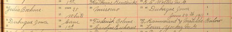 Hammerand Boehme marriage record 2 Dubuque IA