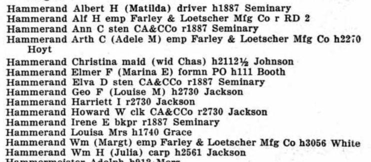 Hammerand Dubuque 1939 city directory
